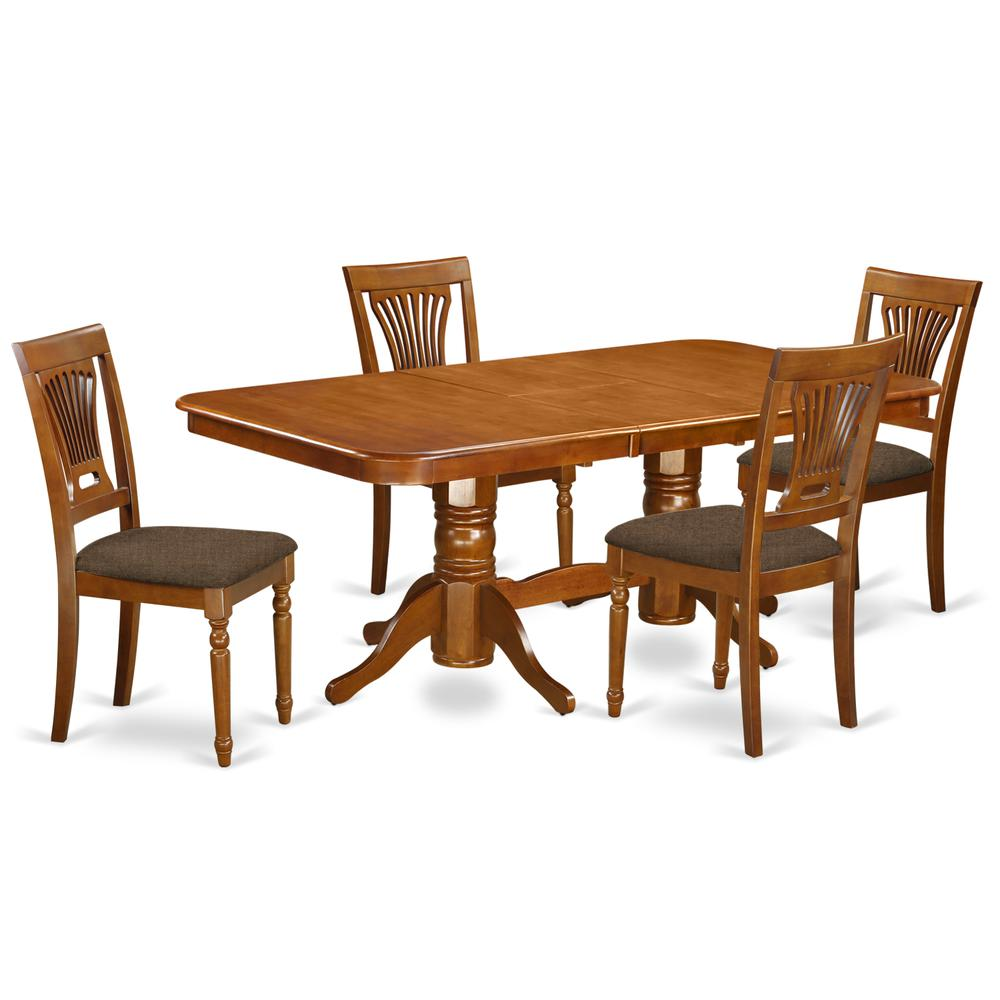NAPL5-SBR-C 5 Pc Dining room set for 4-Dining Table and 4 Chairs for Dining. Picture 1