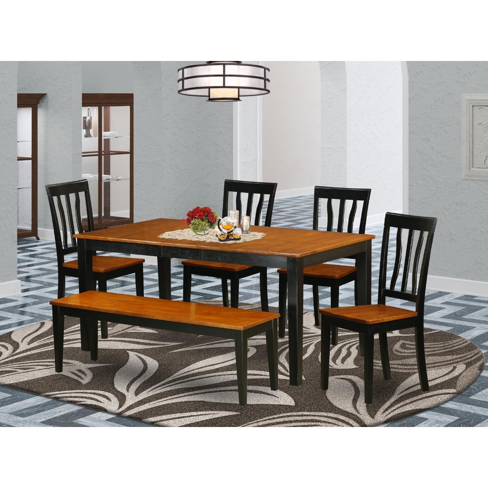6 pc kitchen table set dining table and 4 dining chairs for Kitchen table set 6 chairs