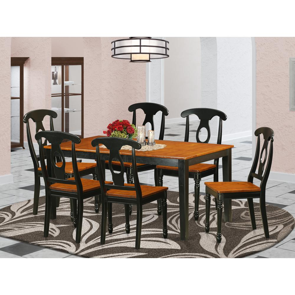 East West Nicoli 6 Piece Dining Set: 7 PC Kitchen Table Set-Dining Table And 6 Wooden Dining Chairs