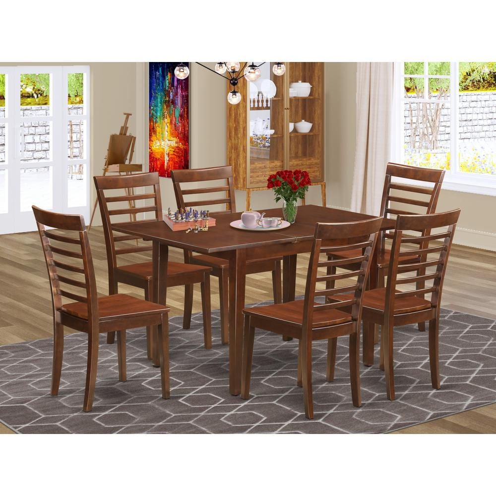52 Kitchen Tables And Chairs Sets 7 Pc Dining Room: Rectangular Table With Leaf And 6