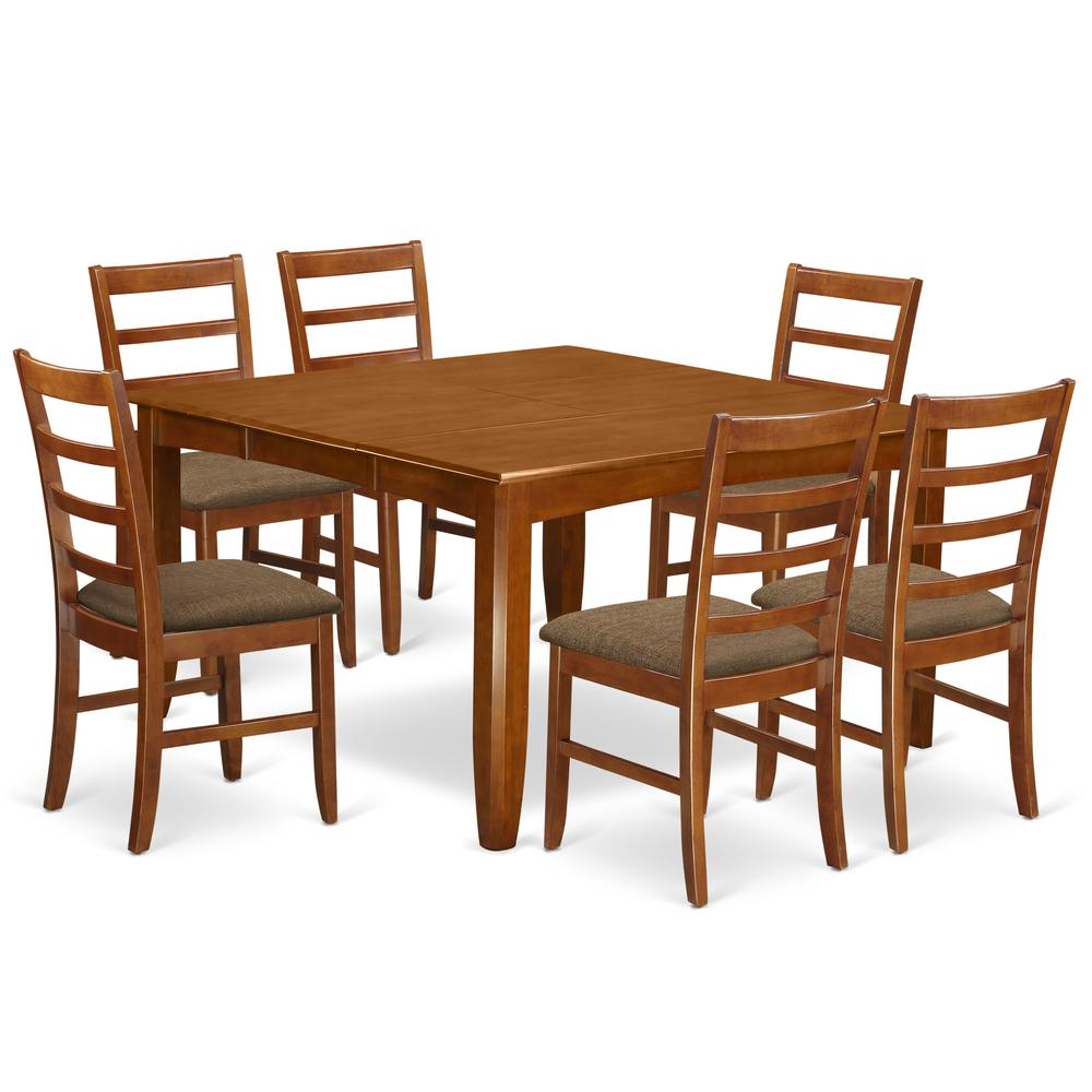 52 Kitchen Tables And Chairs Sets 7 Pc Dining Room: 7 Pc Dining Room Set-Square Table With Leaf And 6 Dining