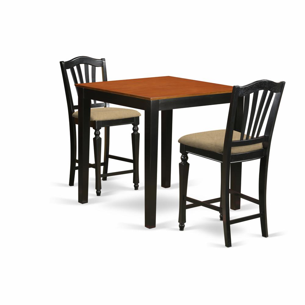 3 Pc Pub Table Set High Top Table And 2 Kitchen Chairs
