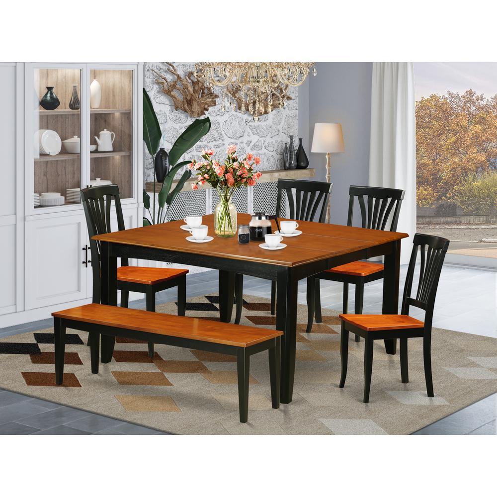 Kitchen Table With Bench And Chairs: 6 PC Dining Room Set With Bench-Kitchen Tables And 4 Wood