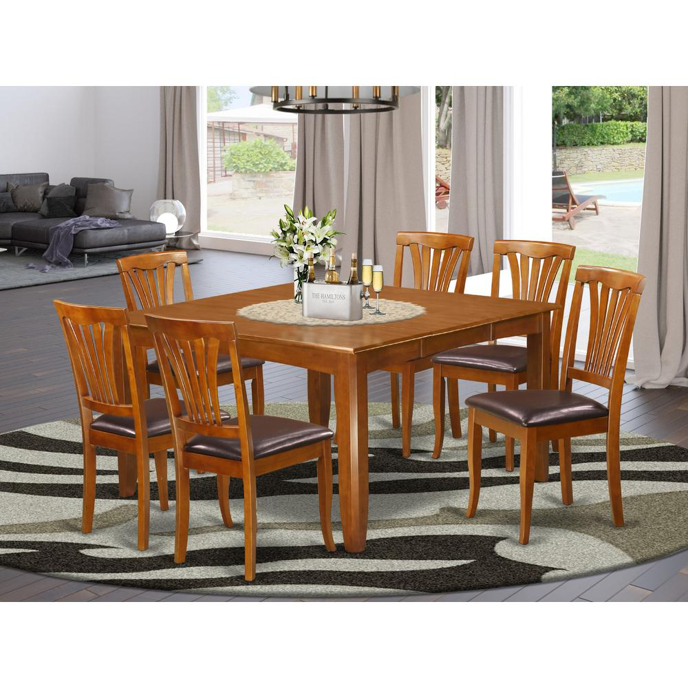 Square Dining Chairs: 7 Pc Dining Room Set-Square Dining Table With Leaf And 6