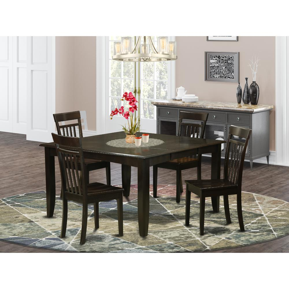 5 Pc Dining Room Set Dinette Table With Leaf And 4 Dinette