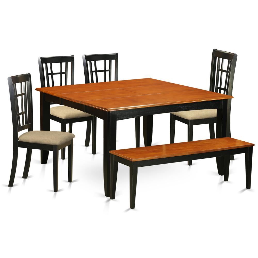 6 Pc Dining Room Set With Bench Dining Table And 4 Wood