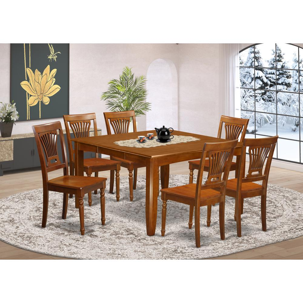 7 Pc Dining Room Set For 6-Square Dining Table With Leaf