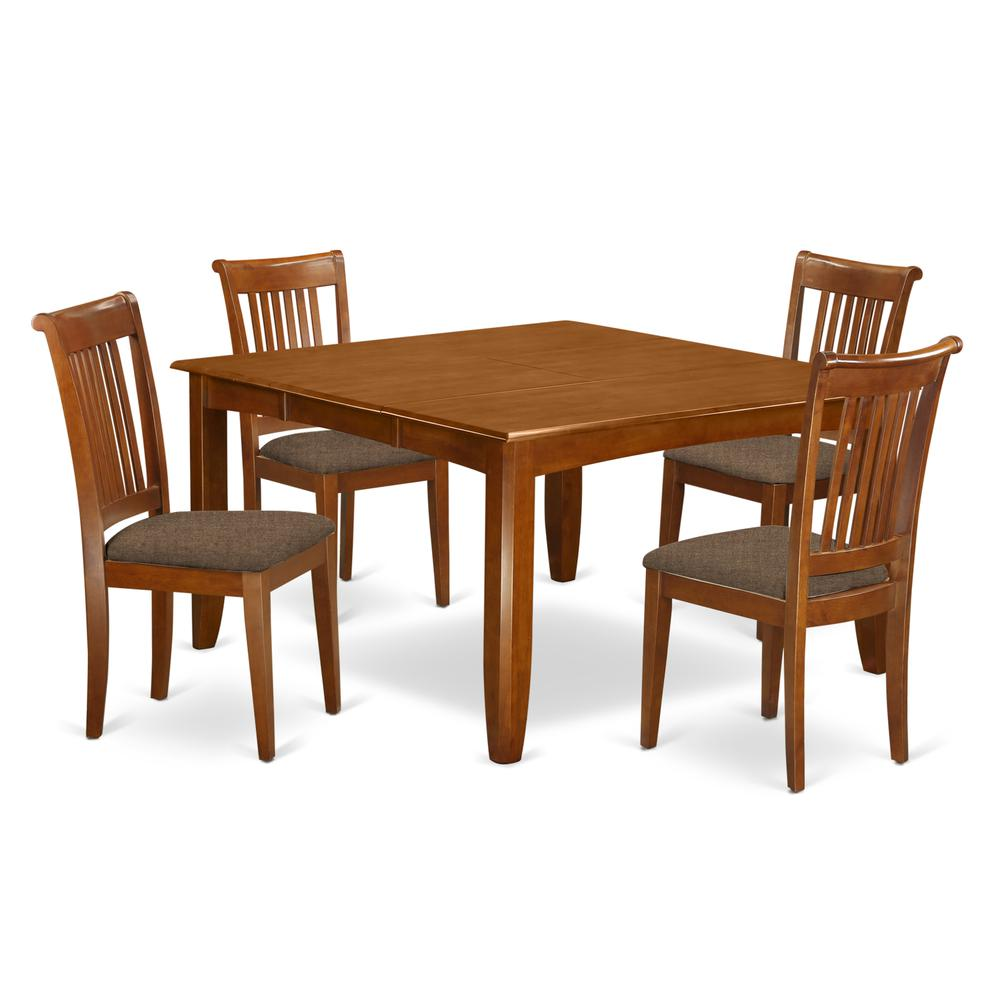 Pfpo5 Sbr C 5 Pc Dining Room Set For 4 Square Dining Table With Leaf And 4 Dining Chairs