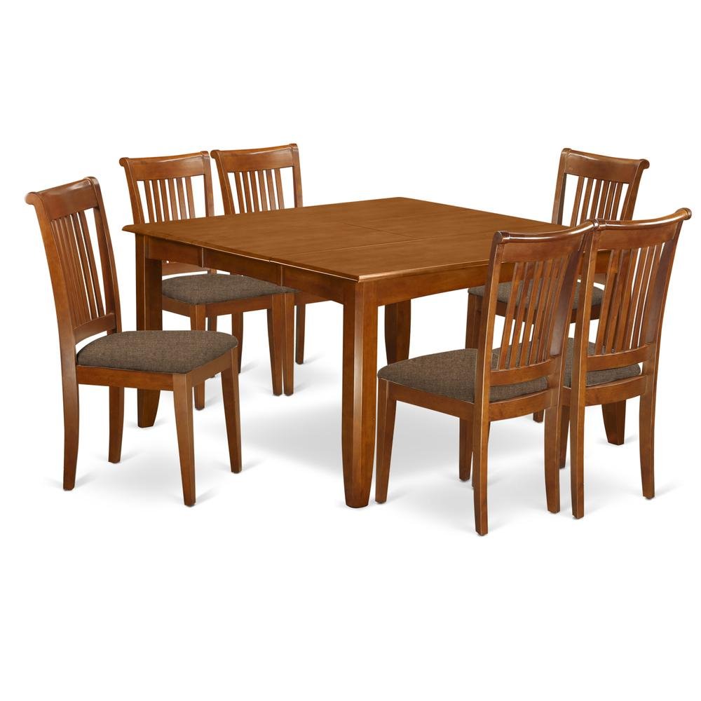 PFPO9 SBR C 9 Pc Dining set Square Dining Table with Leaf and 9 ...