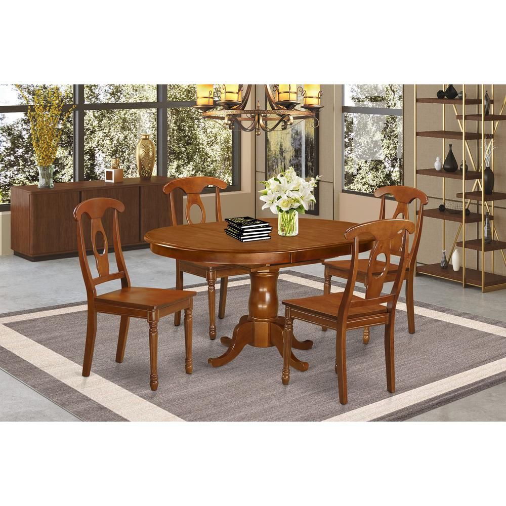 Oval Dining Room Table: 5 Pc Dining Room Set-Oval Dining Table With Leaf And 4 Chairs
