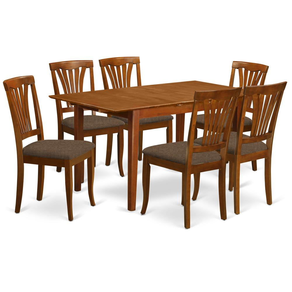 7 pc dinette set for small spaces table with leaf and 6 dining chairs. Black Bedroom Furniture Sets. Home Design Ideas