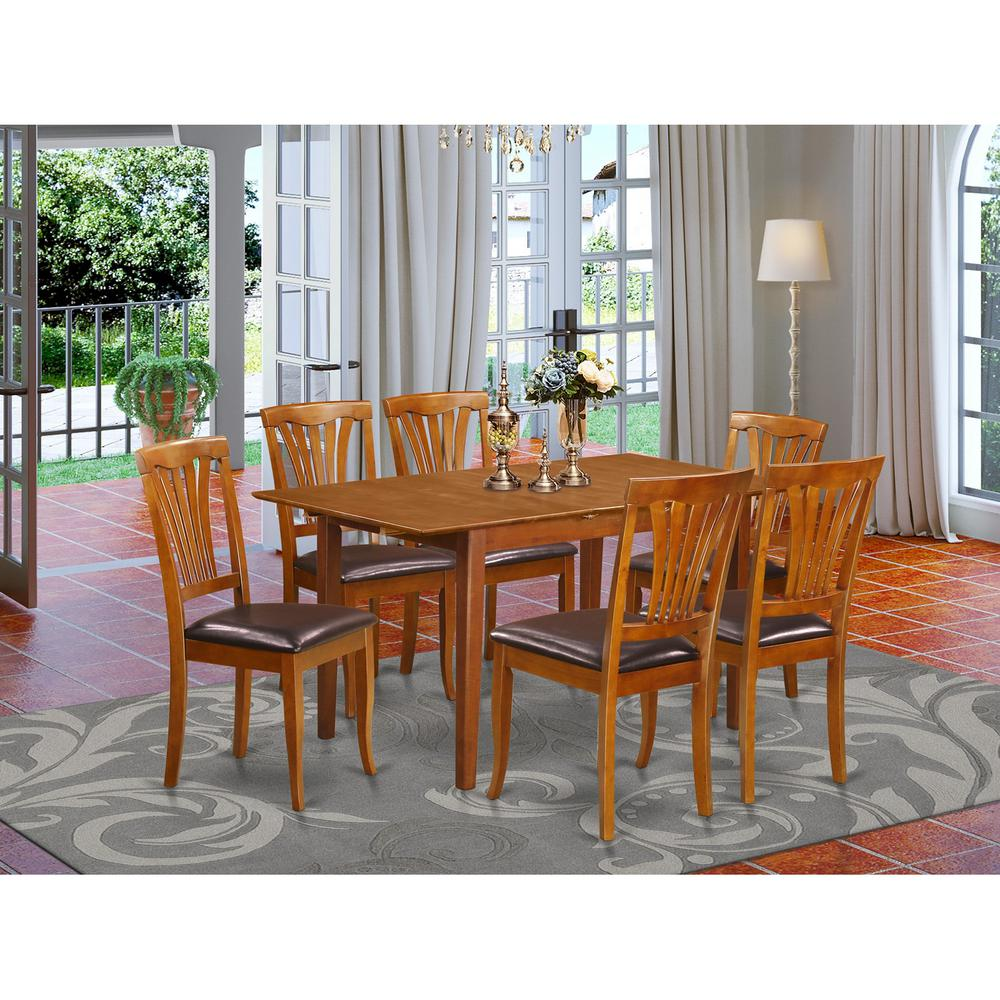 7 PC Small dinette Table that has Leaf with 6 Dining Table Chairs