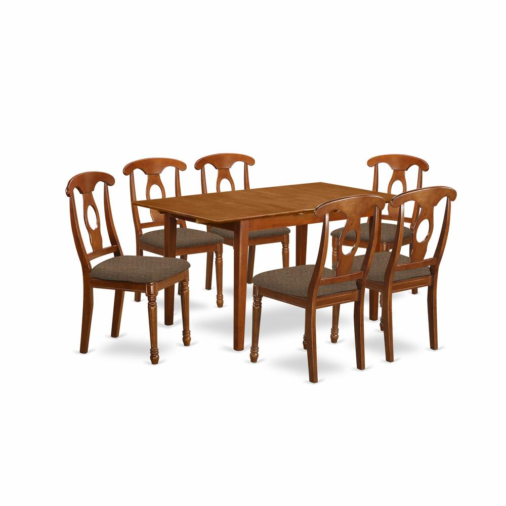 7 pc dinette set table with leaf and 6 kitchen chairs for Kitchen table set 6 chairs