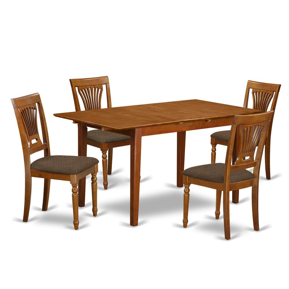 Modern 5pc Dining Table Set Kitchen Dinette Chairs: 5 PC Kitchen Table Set Table With Leaf And 4 Dining Table