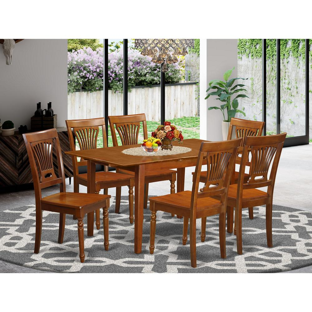 7 Pc Kitchen Table And Chair Set Table With Leaf And 6