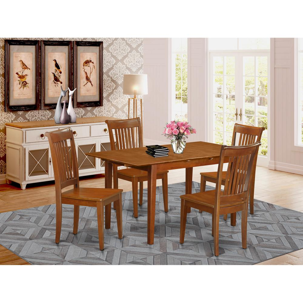 5 pc kitchen table set table with leaf and 4 kitchen chairs for Kitchen table set 4