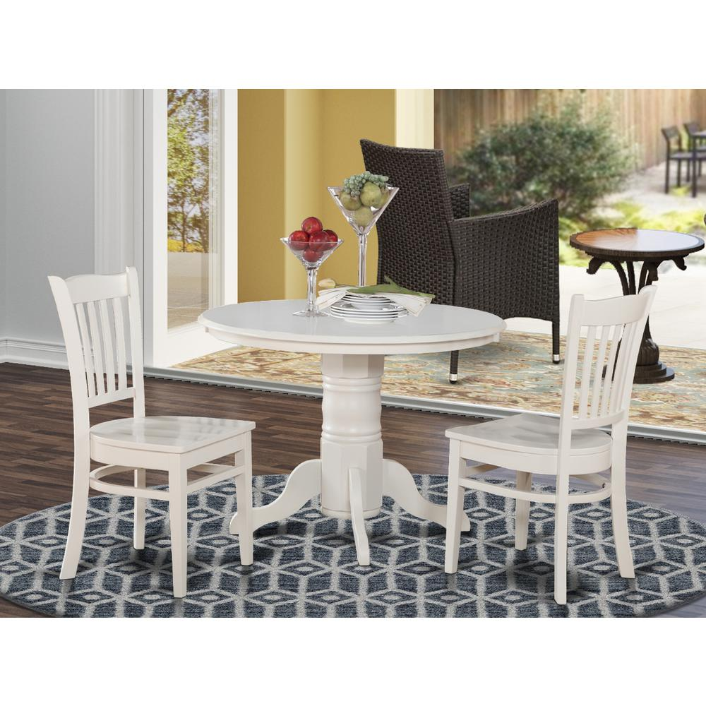 Kitchen Dinette Set: 3 PC Kitchen Nook Dining Set-Round Table And 2 Dinette Chairs