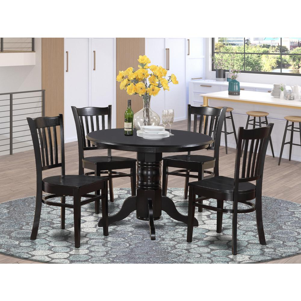 Modern 5pc Dining Table Set Kitchen Dinette Chairs: 5 Pc Small Kitchen Table Set-Round Table And 4 Dining Chairs