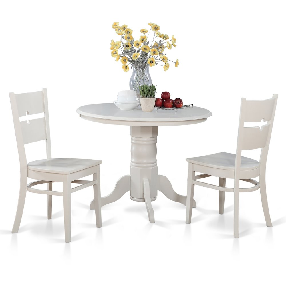 3 PC small Kitchen Table set Round Table with 2 dinette Chairs
