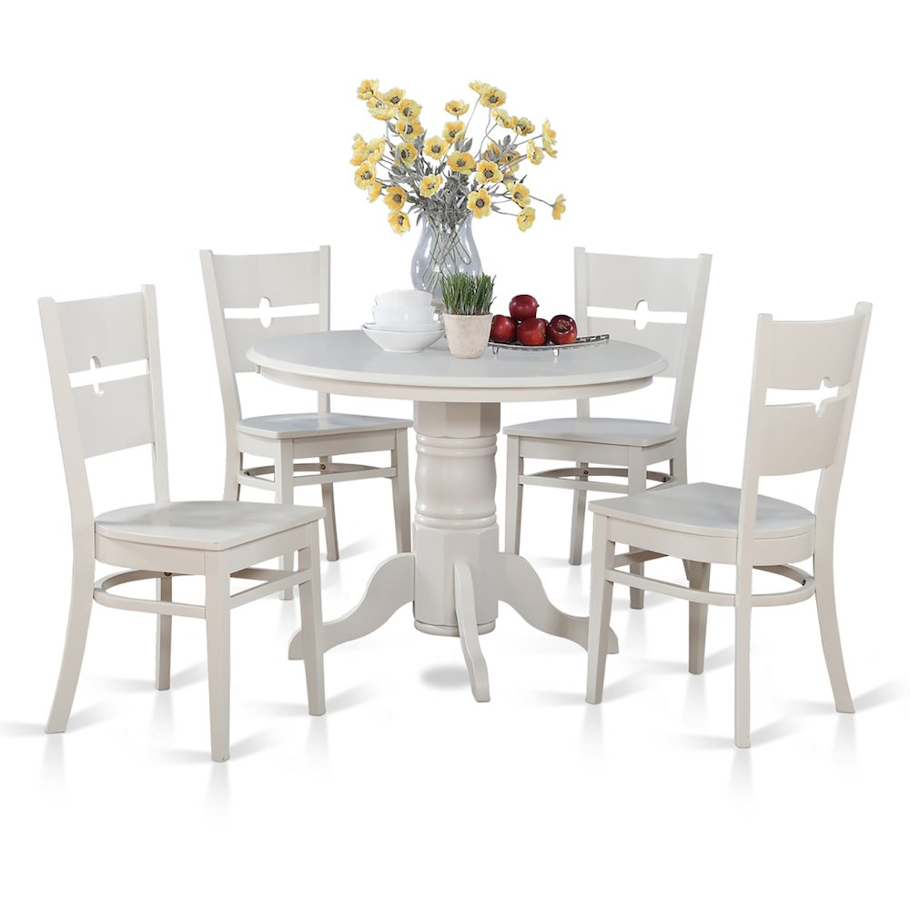 Modern 5pc Dining Table Set Kitchen Dinette Chairs: 5 Pc Small Kitchen Table And Chairs Set-Round Table And 4