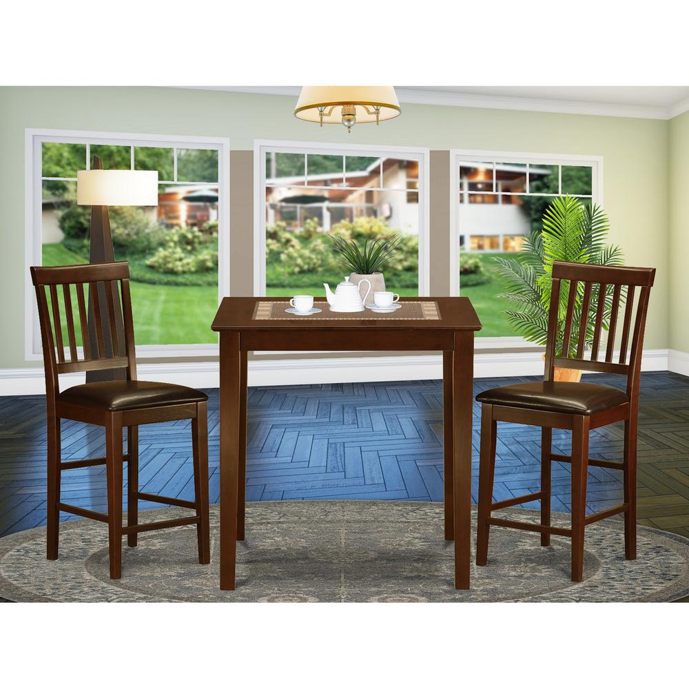 Pc Square Pub Table Set: 3 PC Counter Height Dining Set-Square Pub Table And 2 Stools
