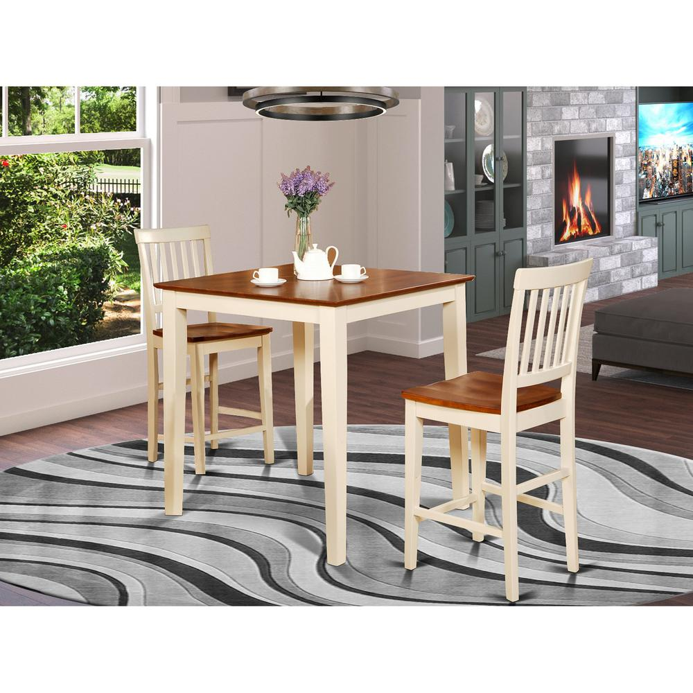 3  Pc  pub  Table  set-Square  pub  Table  and  2  counter  height  Chairs. Picture 1