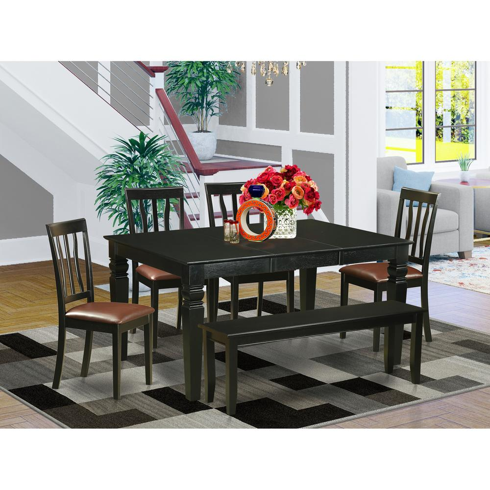 6 Pc Kitchen Nook Dining Set Kitchen Table And 4 Dining Chairs And Bench