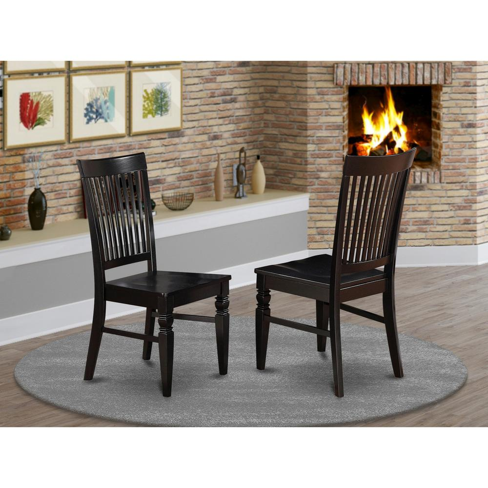 Weston  Dining  Wood  Seat  Chair  with  Slatted  Back  in  Black  Finish,  Set  of  2