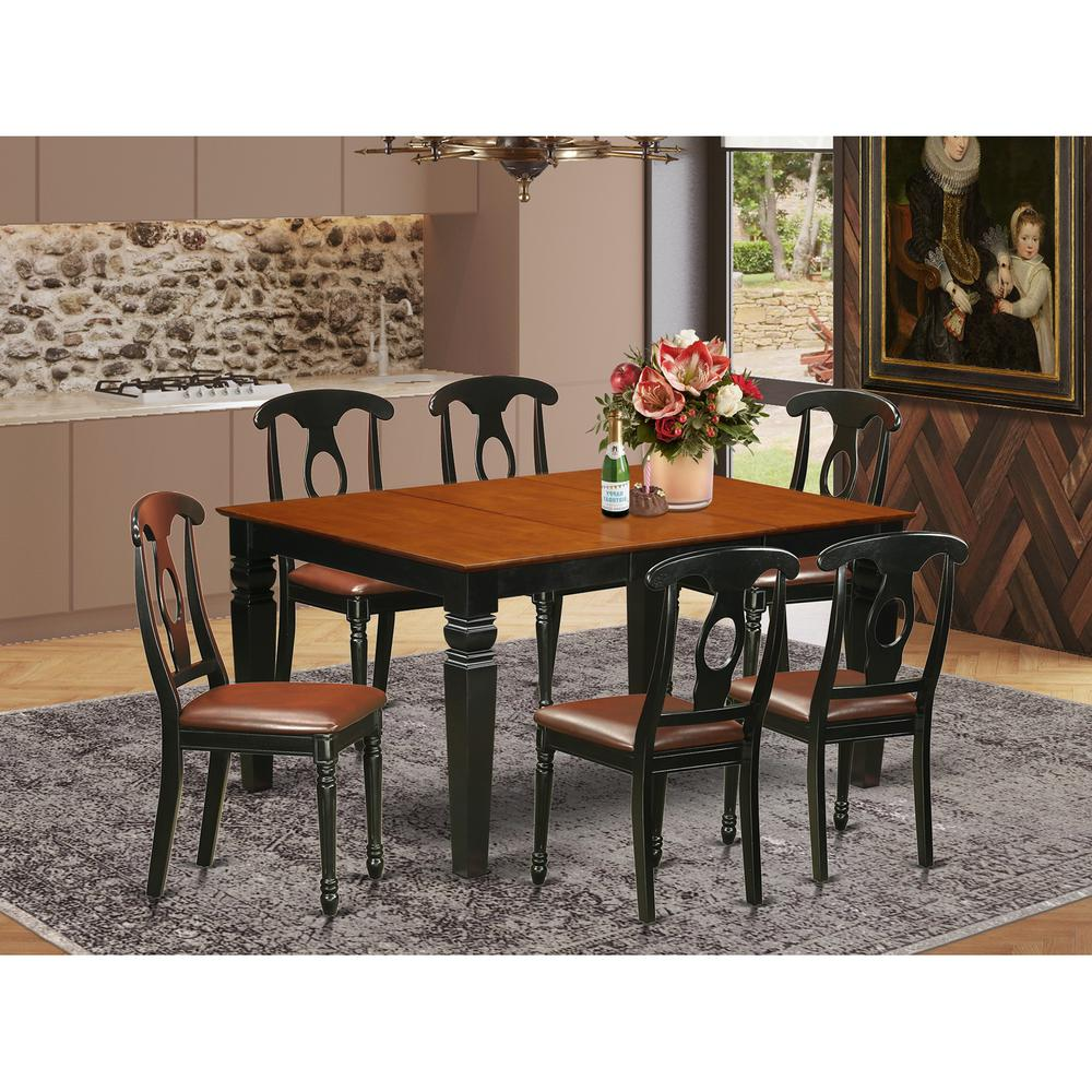 7 Pc Kitchen table set with a Dining Table and 6 Leather Kitchen Chairs in  Black