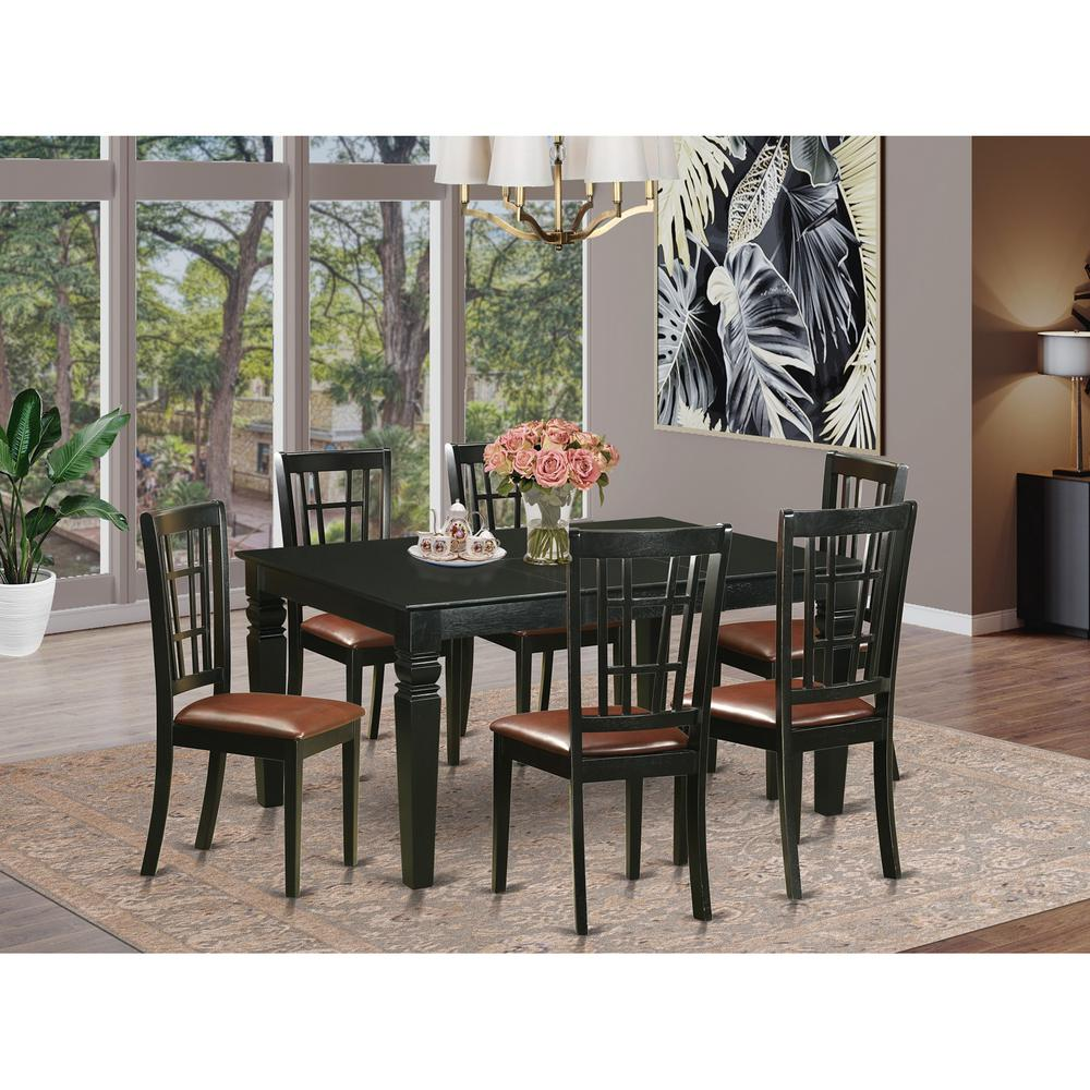 7 Pcs Dining Room Sets Small Kitchen Table And 6 Kitchen Chairs