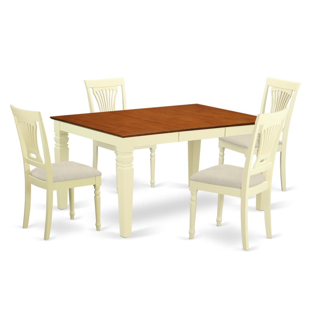 5 Pc Kitchen table set with a Dining Table and 4 Kitchen Chairs in  Buttermilk and Cherry