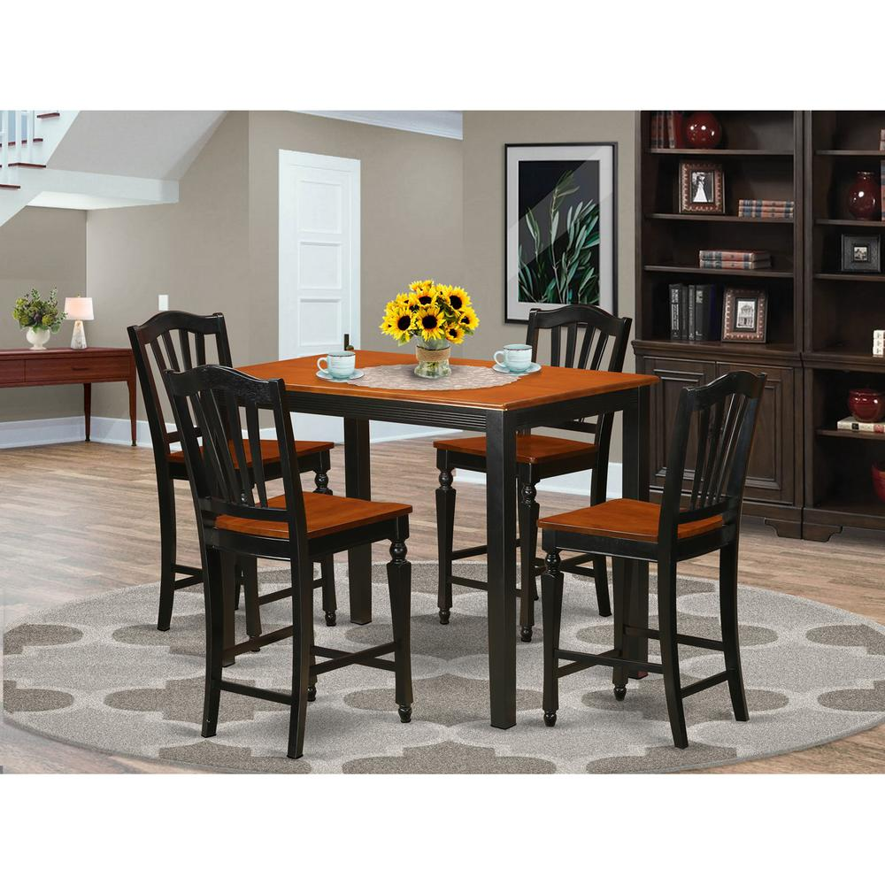 Set Of 4 Kitchen Counter Height Chairs With Microfiber: 5 Pc Dining Counter Height Set