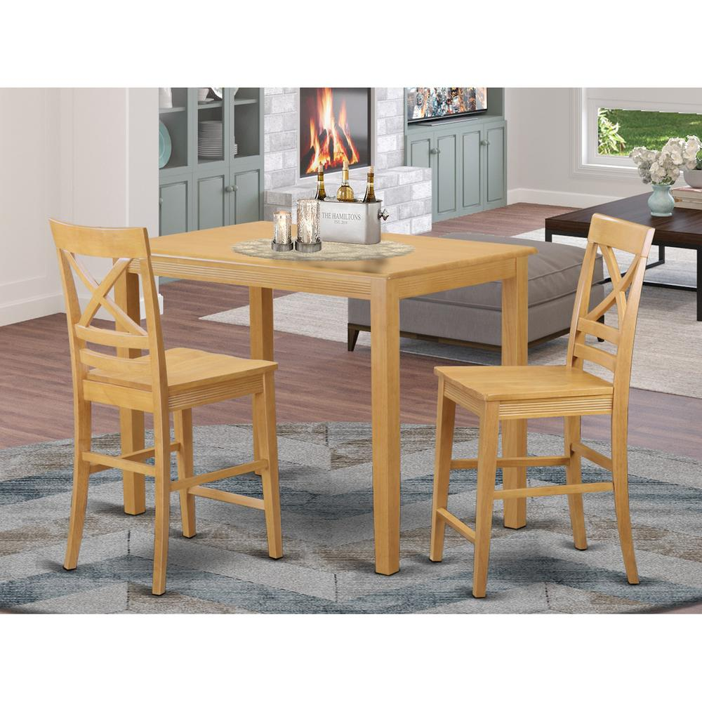 3  Pc  counter  height  Table  and  chair  set  -  Small  Kitchen  Table  and  2  bar  stools  with  backs. Picture 1