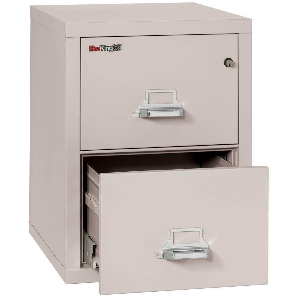 "2 Drawer Legal Size Filling Cabinet,   25"" depth, Platinum. Picture 3"