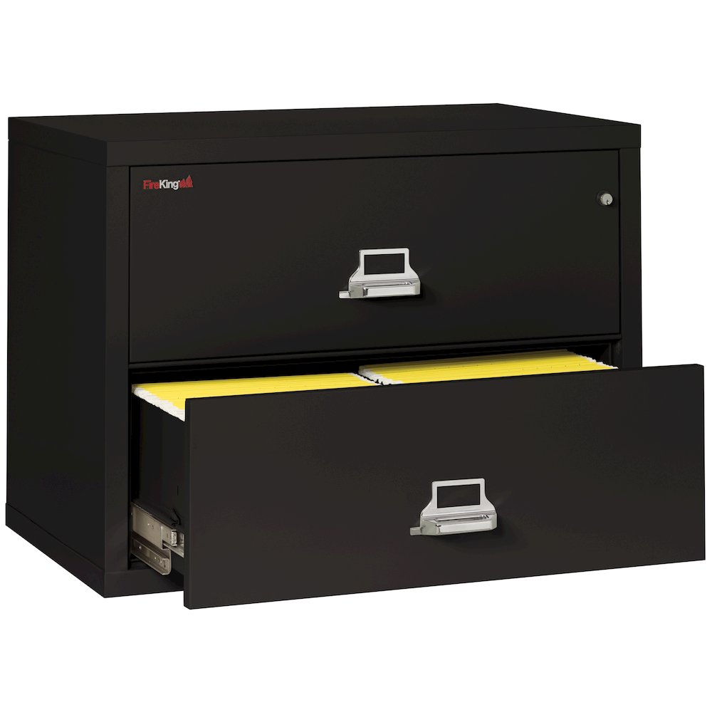 "2 Drawer Lateral File, 38"" wide, Black. Picture 2"