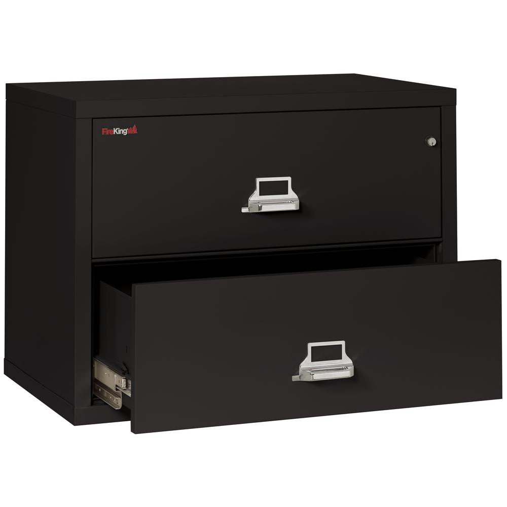 "2 Drawer Lateral File, 38"" wide, Black. Picture 3"