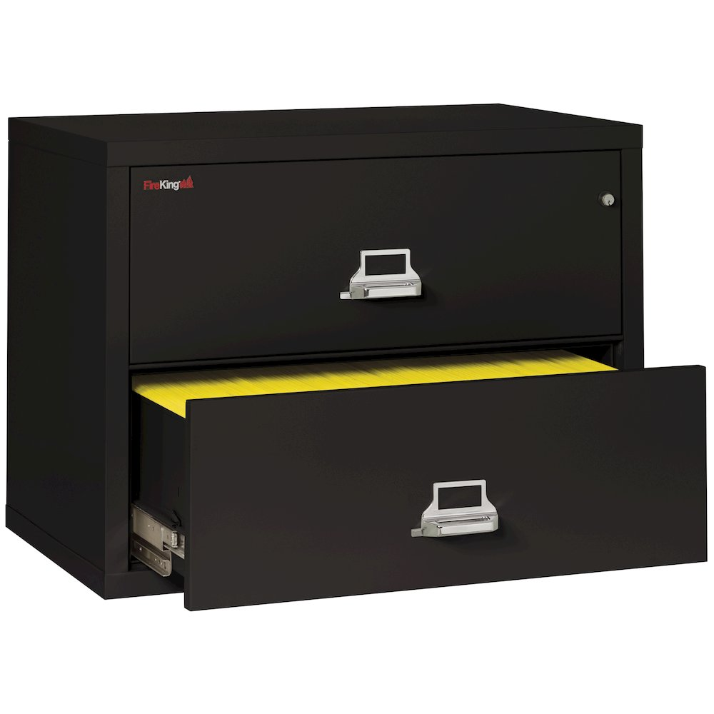 "2 Drawer Lateral File, 38"" wide, Black. Picture 4"