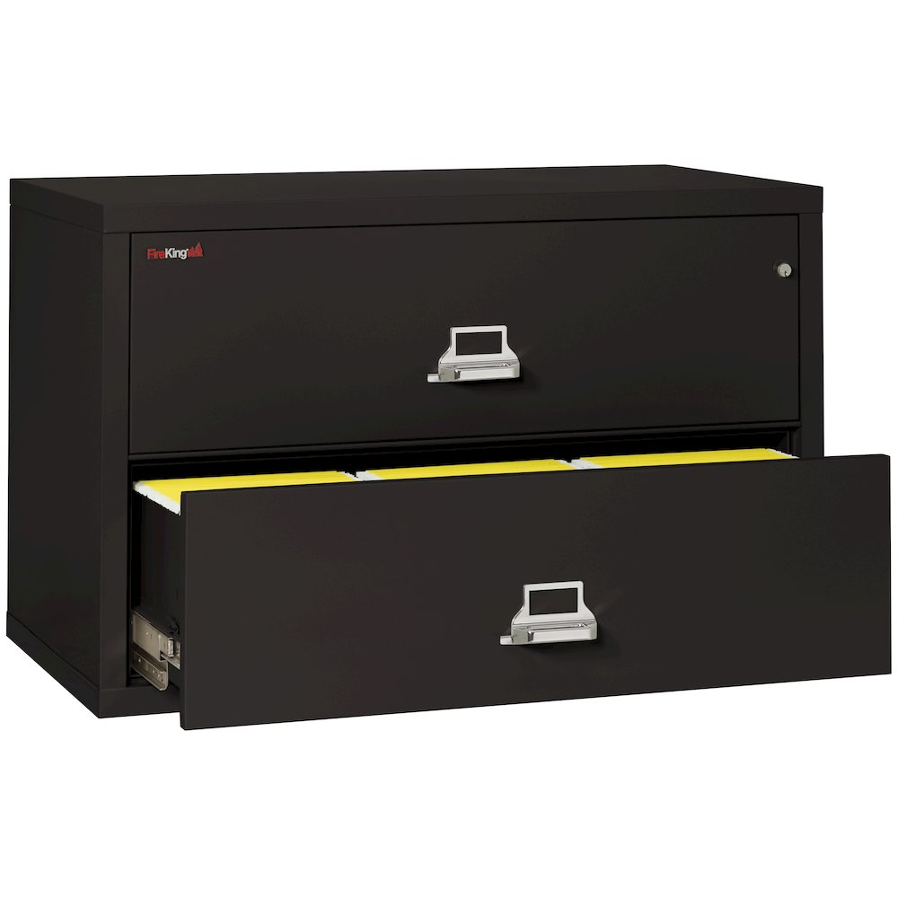 "2 Drawer Lateral File, 44"" wide, Black. Picture 2"