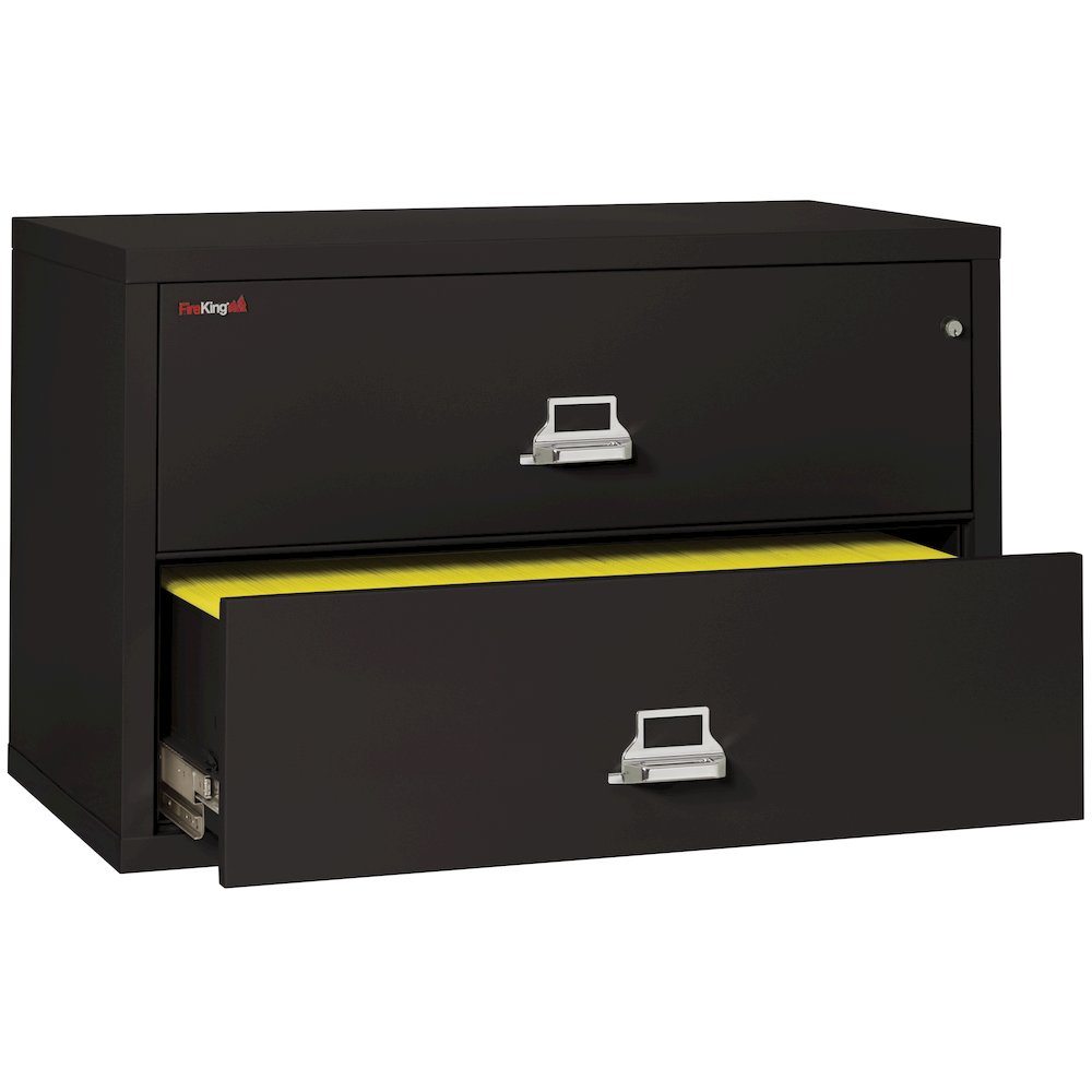 "2 Drawer Lateral File, 44"" wide, Black. Picture 4"