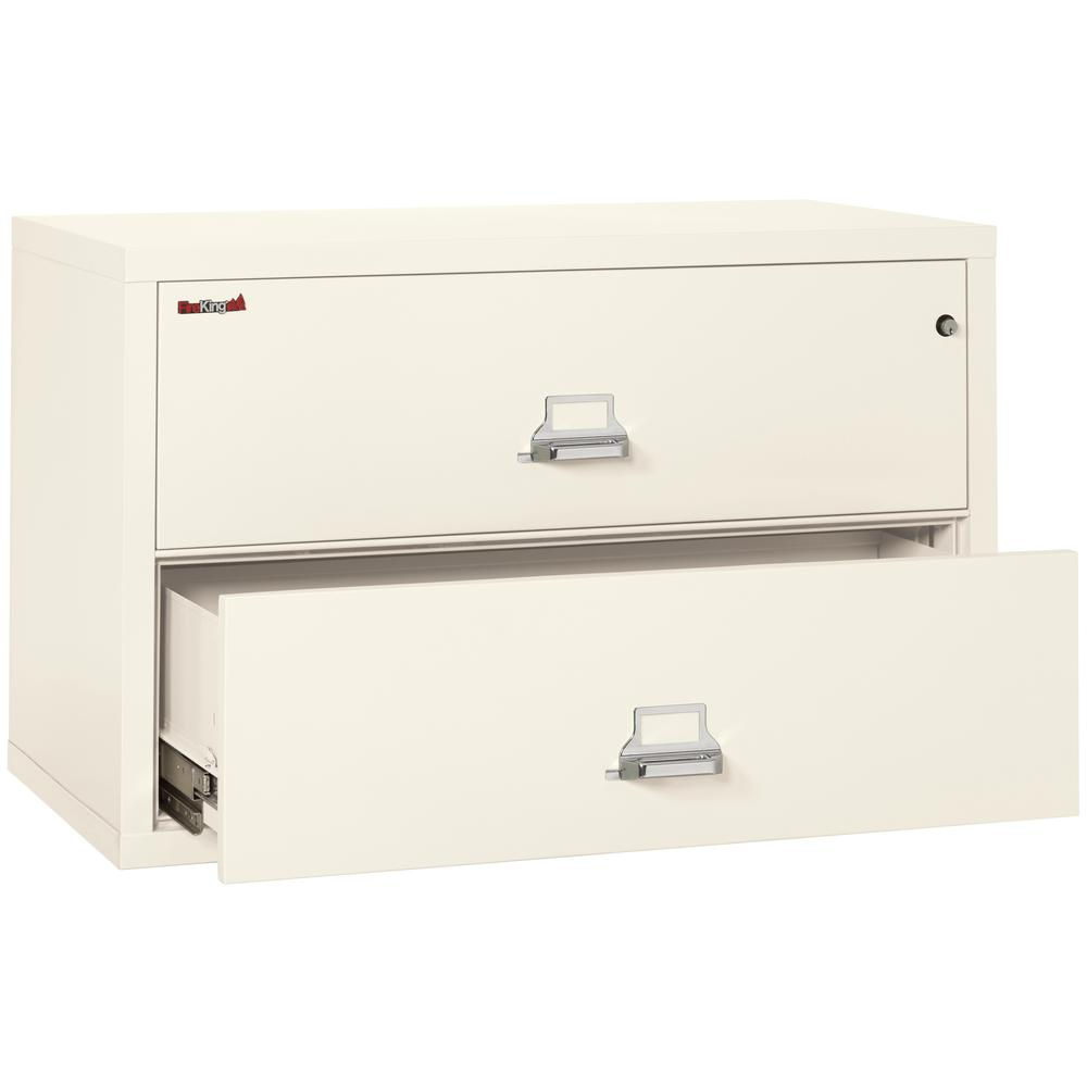 "2 Drawer Lateral File, 44"" wide, Ivory White. Picture 3"
