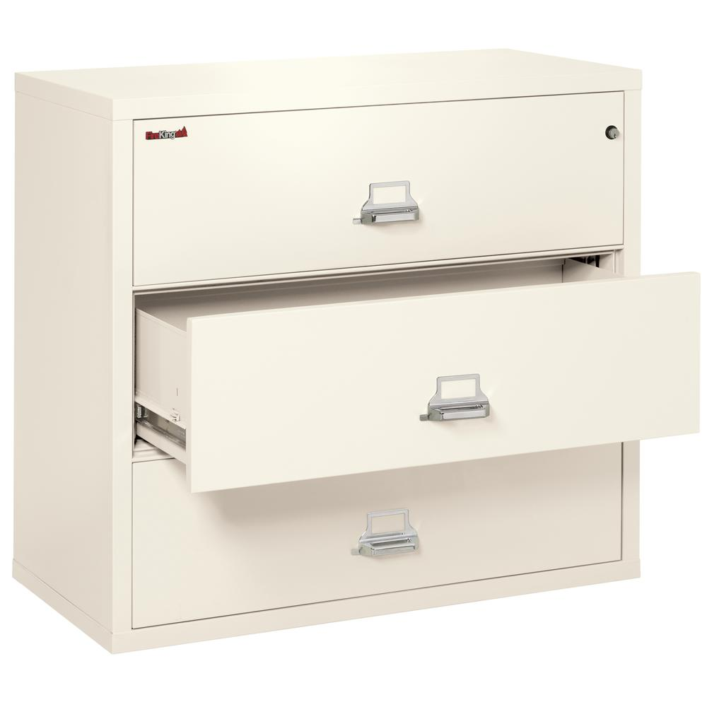 """3 Drawer Lateral File, 44"""" wide, Ivory White. Picture 3"""