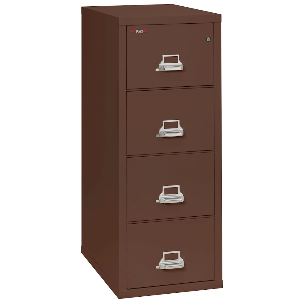 "Vertical File Cabinet 4 Drawer Letter 31 1 2"" depth Brown"