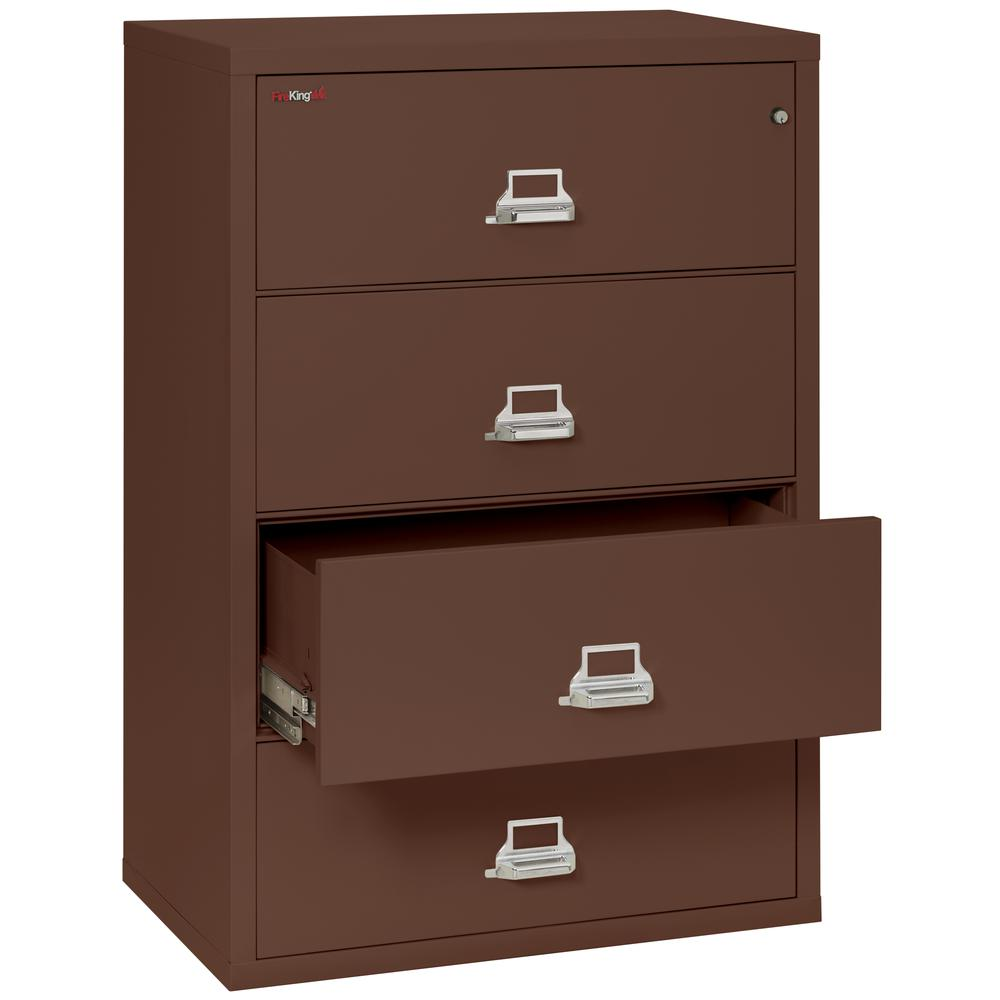 "4 Drawer Lateral File, 38"" wide, Brown. Picture 3"