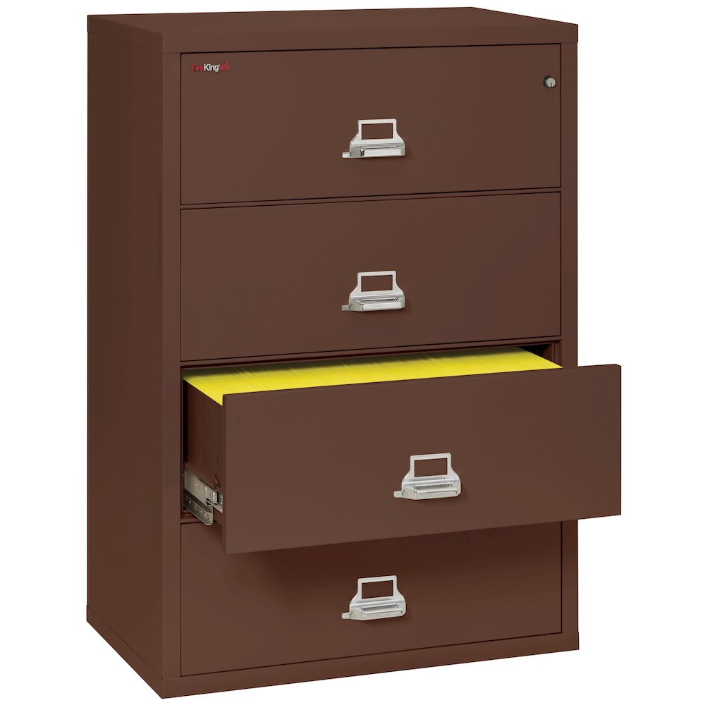 "4 Drawer Lateral File, 38"" wide, Brown. Picture 4"