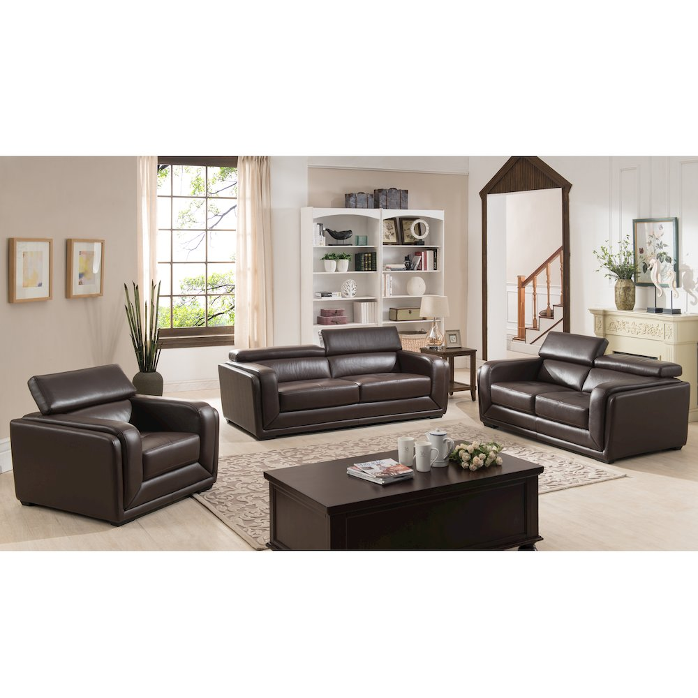 3 piece calvin collection modern style leather living room for Complete living room furniture sets