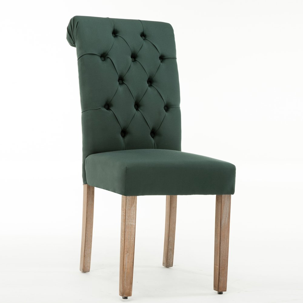 Natalie Roll Top Tufted Green Linen Fabric Modern Dining