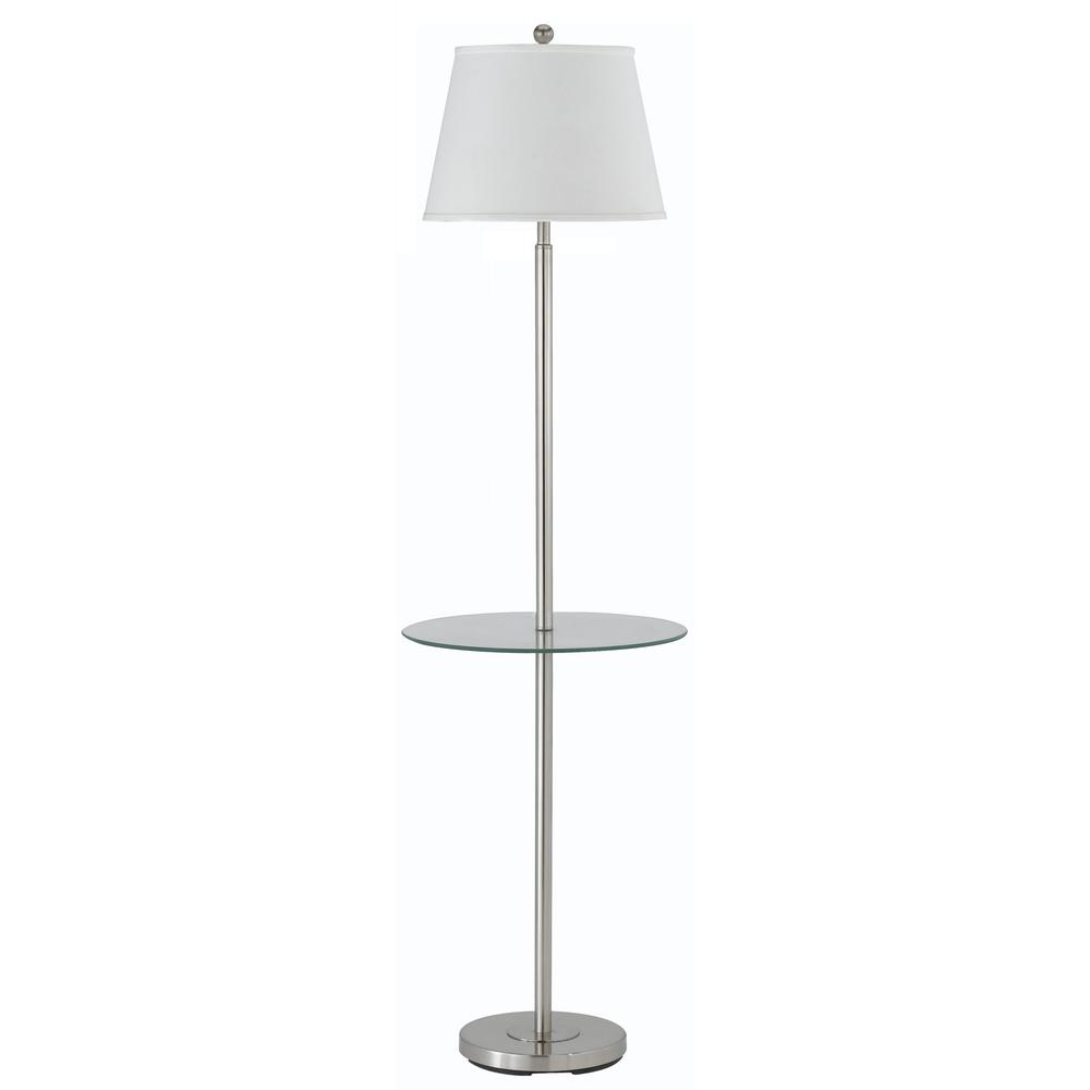 "60"" Height Metal Floor Lamp in Brushed Steel. Picture 1"