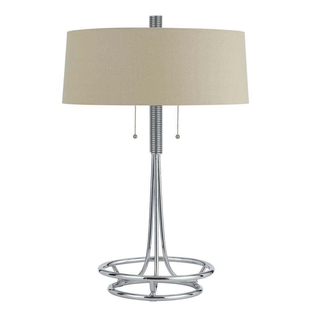 60W X 2 Leccemetal  Table Lamp With Burlap Shade. Picture 1