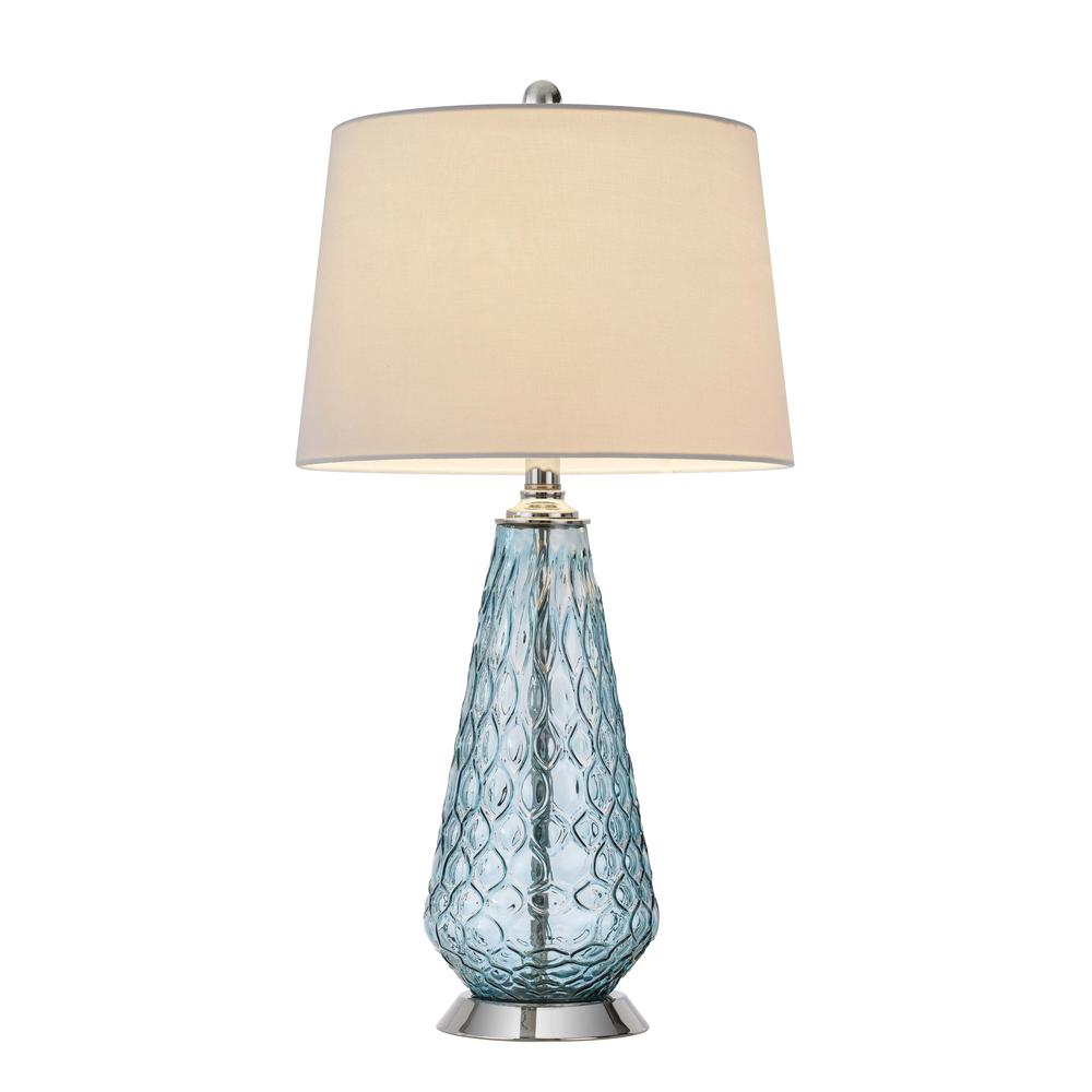 150W 3 way Mayfield glass table lamp with hardback taper drum fabric shade. Picture 4