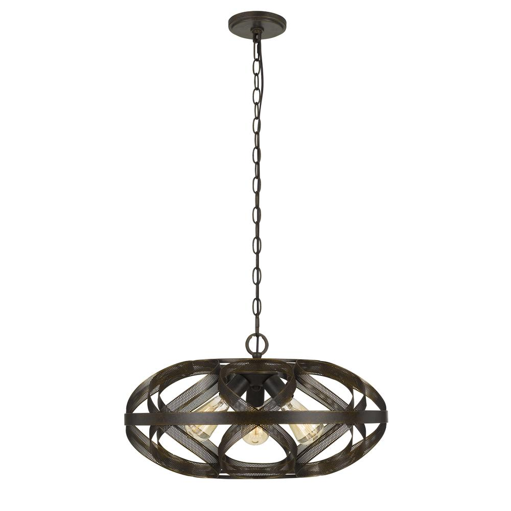 "12"" Height Metal Three Light Pendant In Dark Bronze"